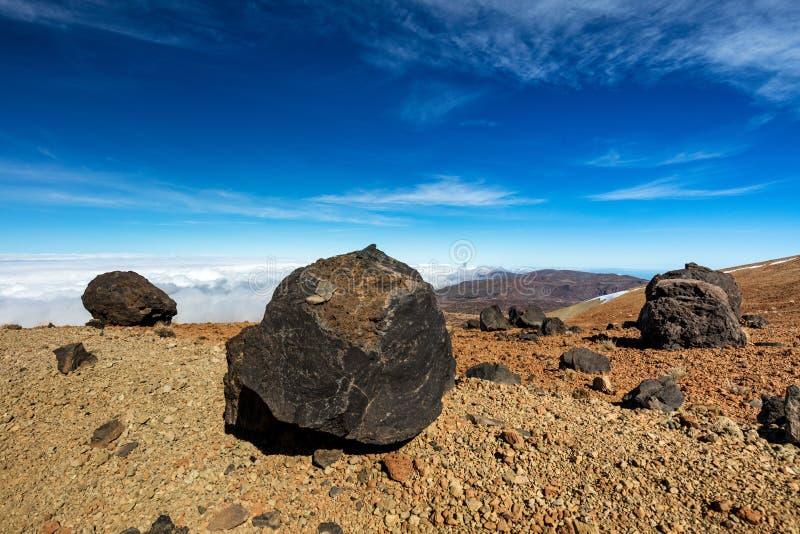 Teide nationalpark, Tenerife, kanariefågelöar - en sikt av ` för `-Teide ägg eller i spansk `-Huevos del Teide `, arkivbild