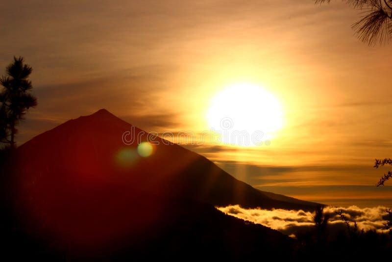 Teide solnedgång royaltyfri fotografi