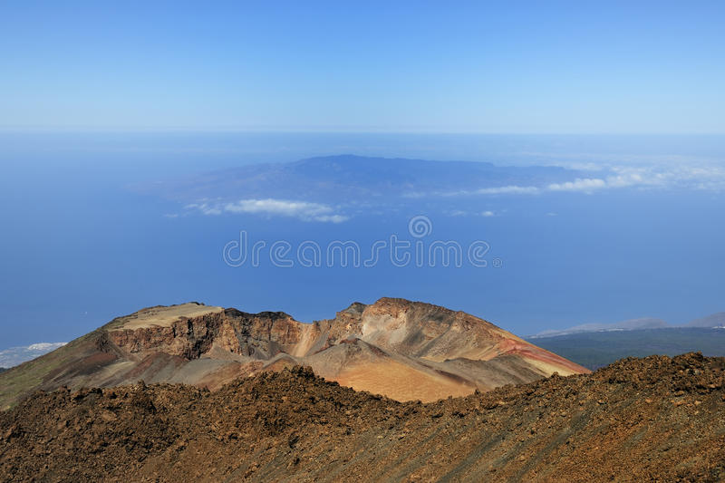 From the Teide summit (3718m). In the background La Gomera Island stock images