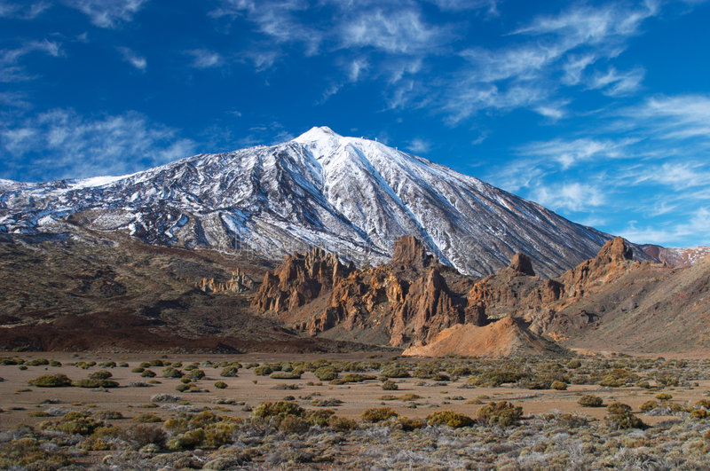 Teide volcano from far. Teide volcano in snow royalty free stock photography