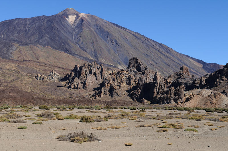 Teide volcano plain. The Teide volcano on the Spanish island of Tenerife stock image