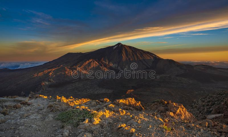 Teide volcano seen at sunrise from the top of Guajara mountain royalty free stock photo