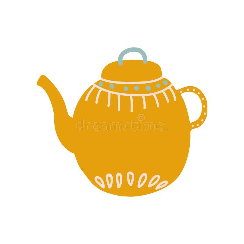Teiera arancio sveglia con l'illustrazione ceramica di vettore delle terrecotte del becco illustrazione di stock