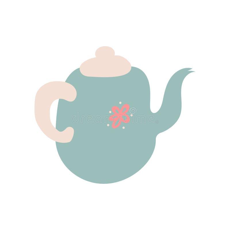 Teiera blu-chiaro sveglia con il becco, illustrazione ceramica di vettore delle pentole delle terrecotte royalty illustrazione gratis
