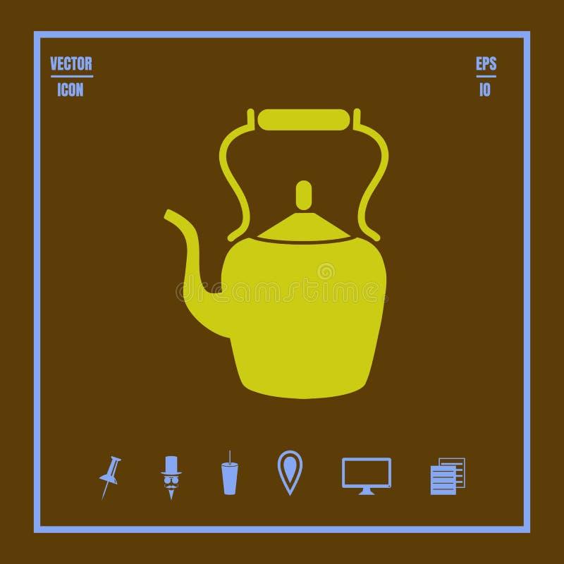 Teiera, bollitore, icona di vettore del bollitore di tè illustrazione di stock