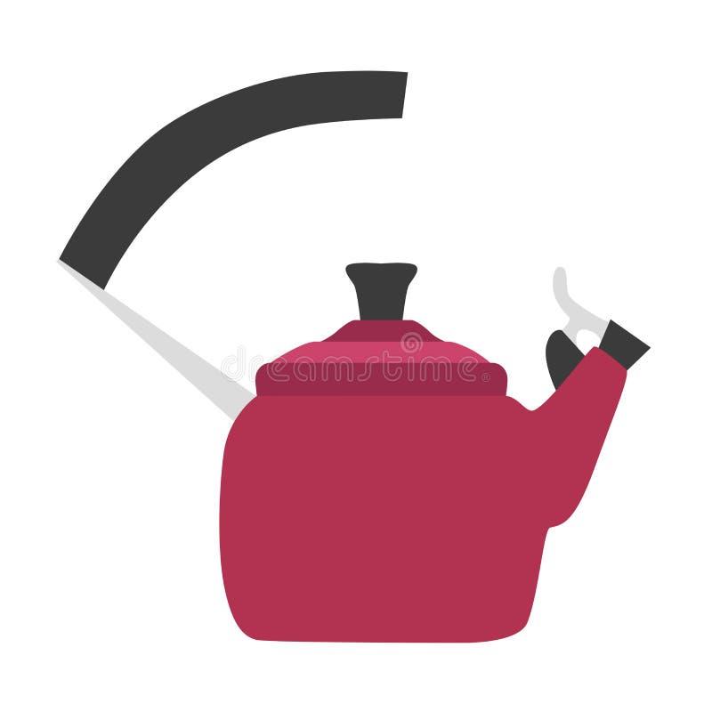 Teiera calda dell'elettrodomestico da cucina del vapore della stufa della cima di progettazione del tè di vettore dell'illustrazi illustrazione vettoriale