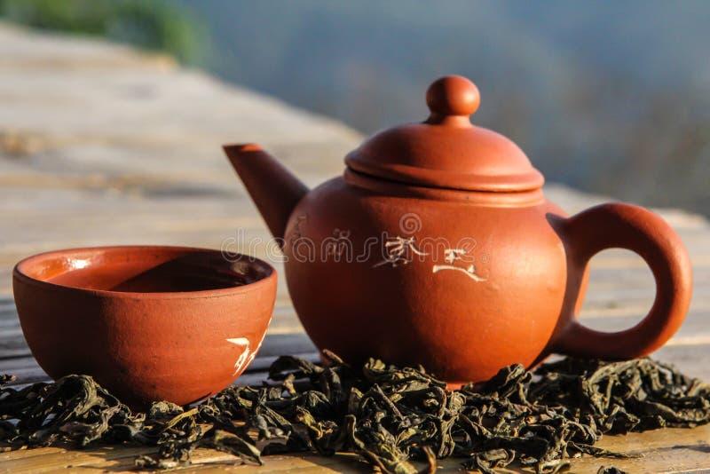Teiera cinese e tazza da the dell'argilla con la foglia di tè asciutta immagini stock libere da diritti