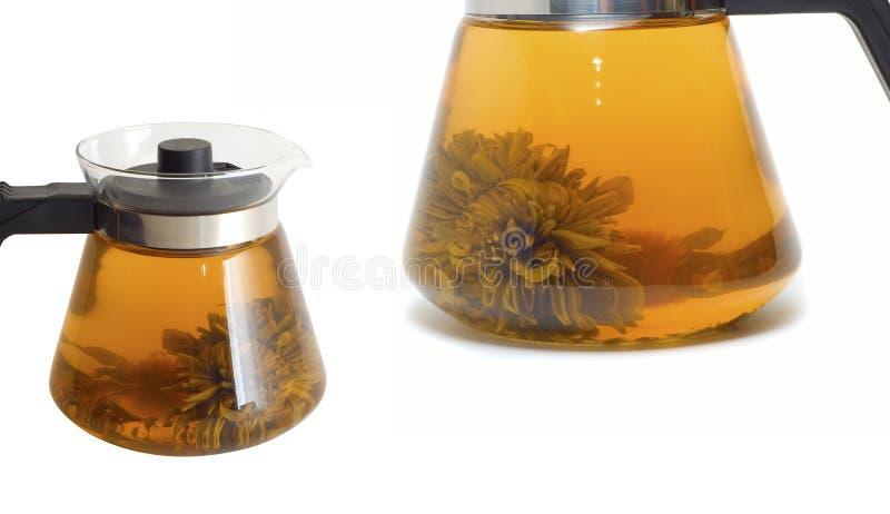 Teiera con il tè del cinese del fiore di loto fotografia stock