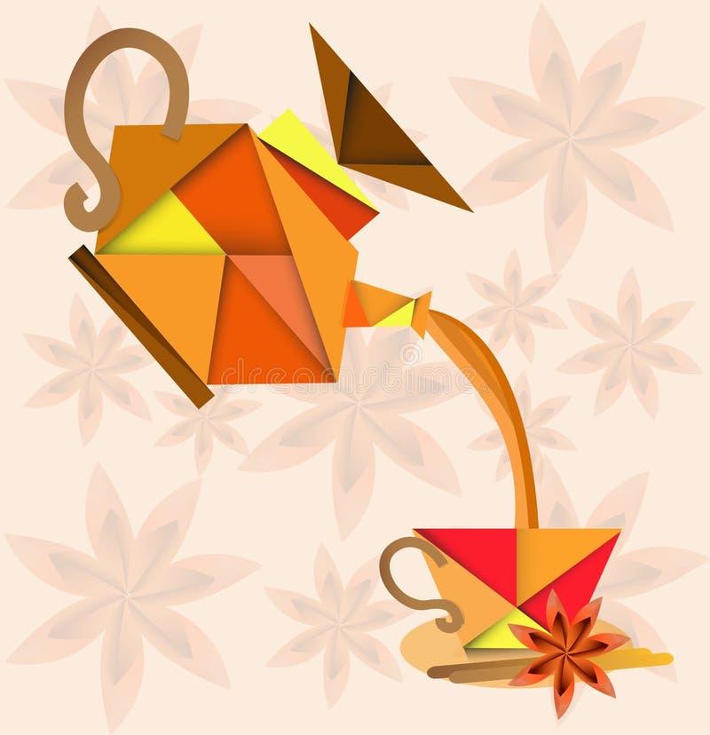 Teiera e tazza di tè nello stile di origami Una tazza di tè con le spezie, l'anice stellato e la cannella Logo della tazza e dell royalty illustrazione gratis