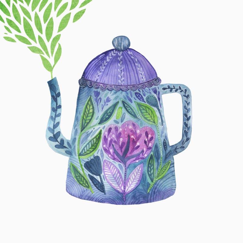 Teiera floreale isolata per la decorazione, manifesto, carta dell'invito Illustrazione disegnata a mano dell'acquerello con i fio royalty illustrazione gratis