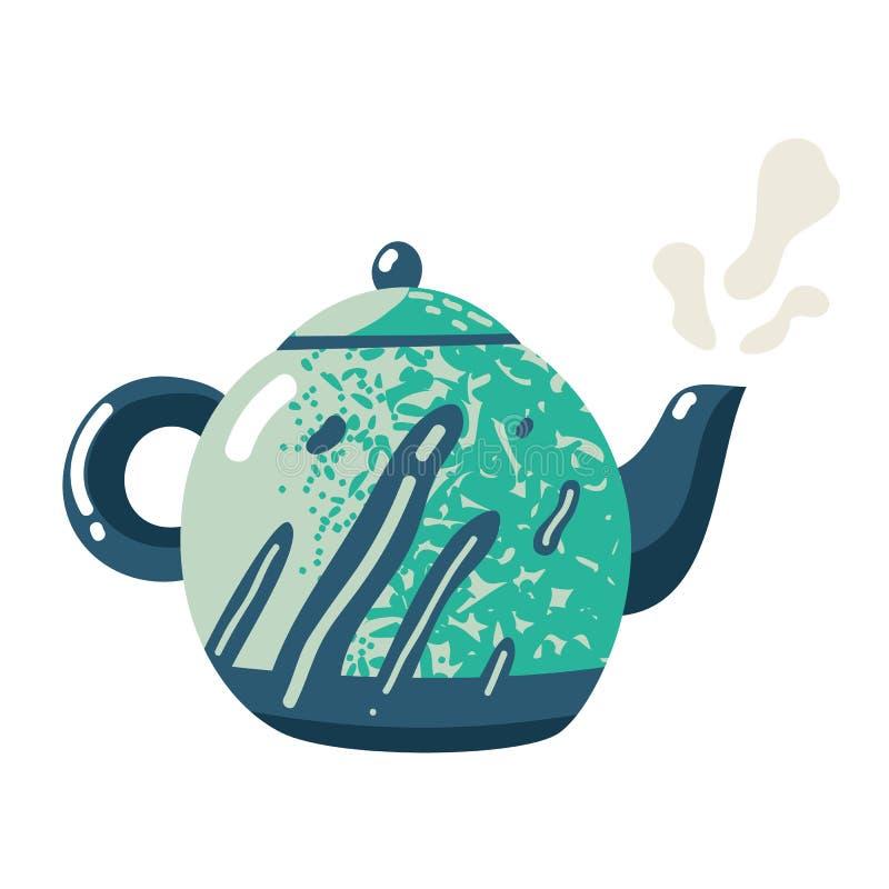 Teiera piana Il segno ceramico delle terrecotte del bollitore fresco versa il simbolo della bevanda di stile di vita della cucina royalty illustrazione gratis
