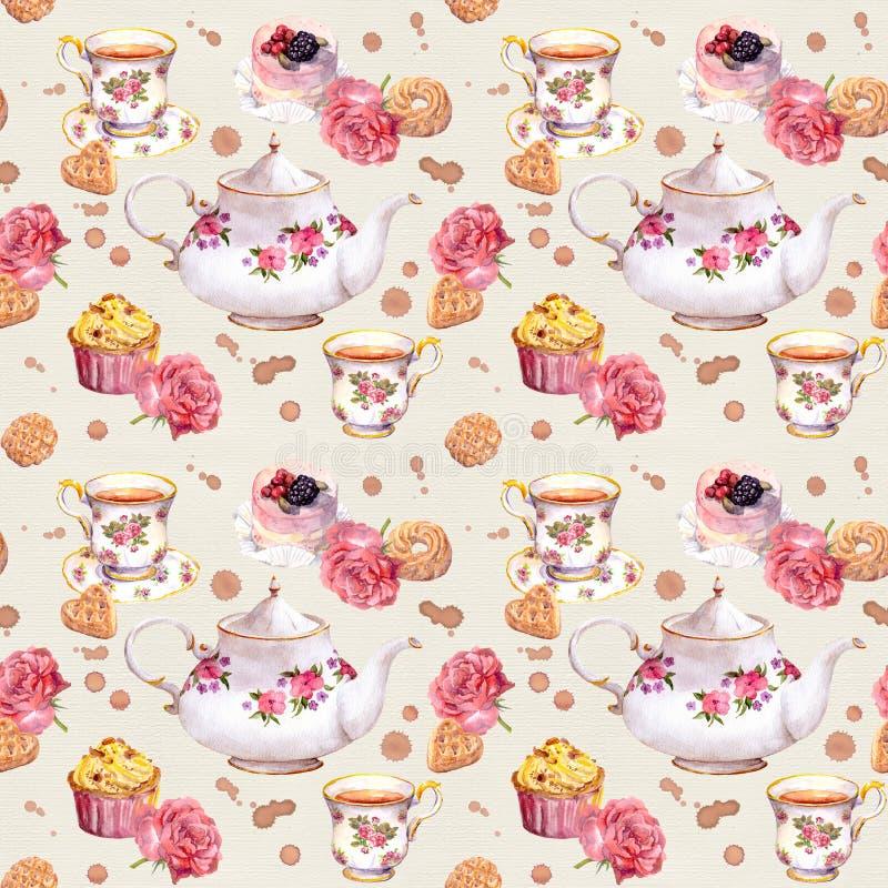Teiera, tazza, dolci e fiori Ripetizione del reticolo watercolour royalty illustrazione gratis