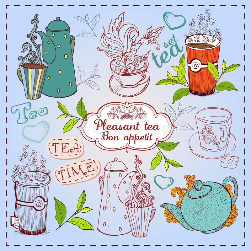 Teiere, tazze e bigné disegnati a mano svegli. royalty illustrazione gratis