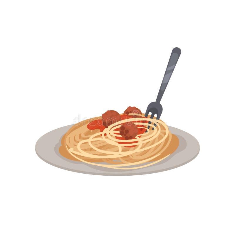 Teigwaren mit Fleischklöschen auf einer Platte Auch im corel abgehobenen Betrag lizenzfreie abbildung