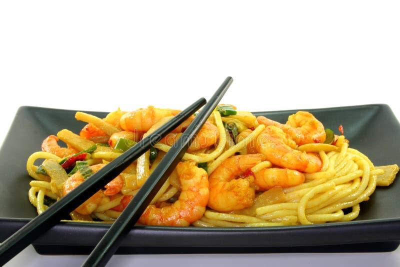 Teigwaren mit Garnele Asien stockfoto