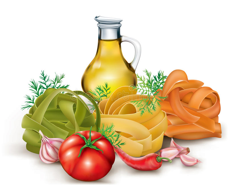 Teigwaren und Gemüse lizenzfreie abbildung