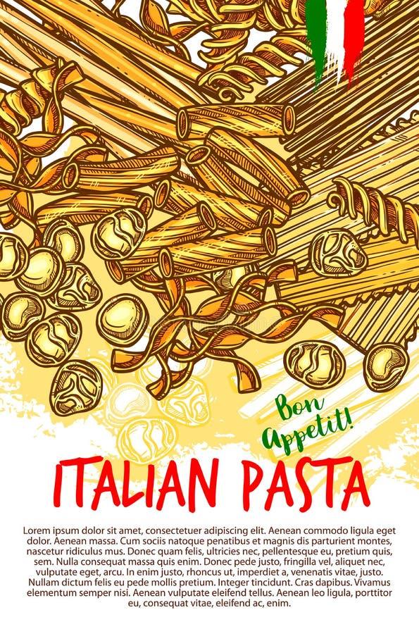 Teigwaren und italienisches Makkaronivektorplakat stock abbildung