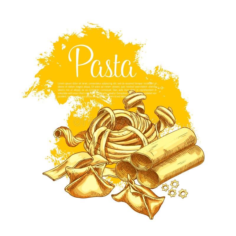 Teigwarenvektorplakat für italienisches Restaurant lizenzfreie abbildung