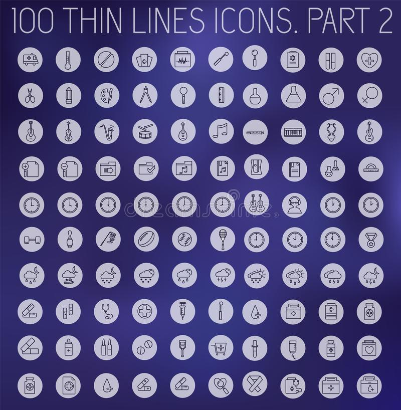 Teil 1 dünne Linien Piktogrammikonensatz-Konzepthintergrund der Sammlung Vektorschablonendesign für Netz und bewegliche Anwendung vektor abbildung