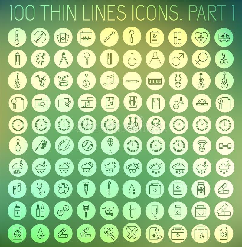 Teil 1 dünne Linien Piktogrammikonensatz-Konzepthintergrund der Sammlung Vektorschablonendesign für Netz und bewegliche Anwendung stock abbildung