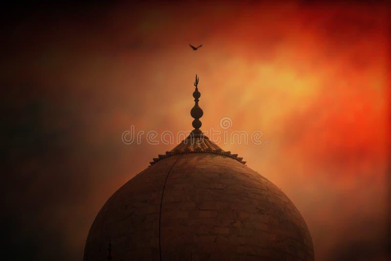 Teil der Dach-Spitze von Taj Mahal stockbild