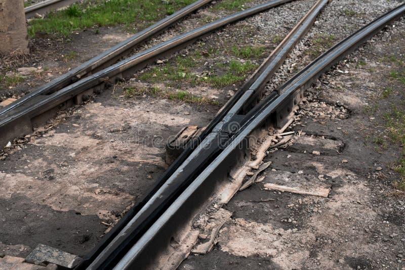 Teil der Eisenbahnlinie mit Schalter lizenzfreies stockfoto