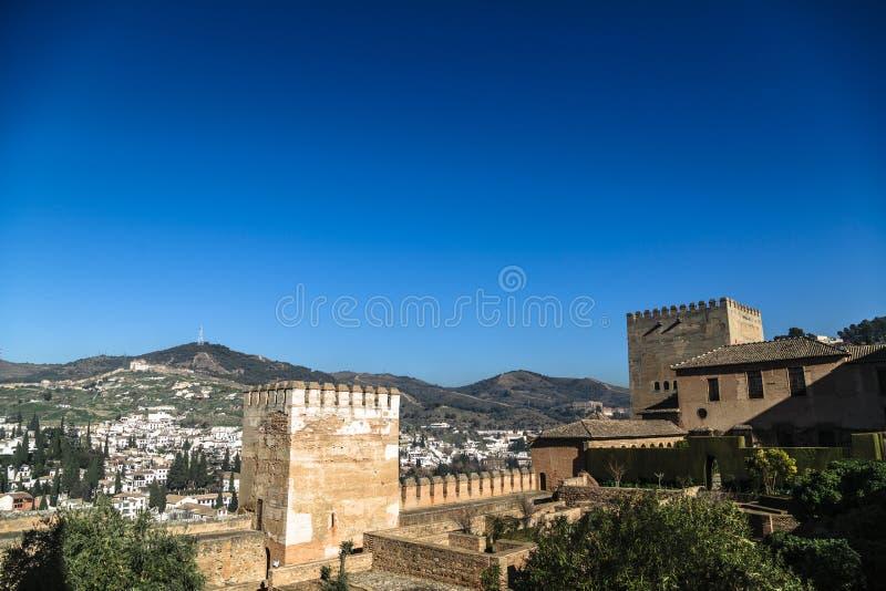 Teil der Festung und des Palastes Alhambra in Granada, Spanien stockfotografie