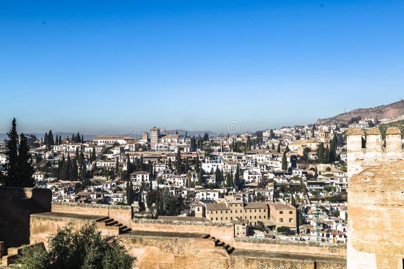 Teil der Festung und des Palastes Alhambra in Granada, Spanien lizenzfreie stockfotografie