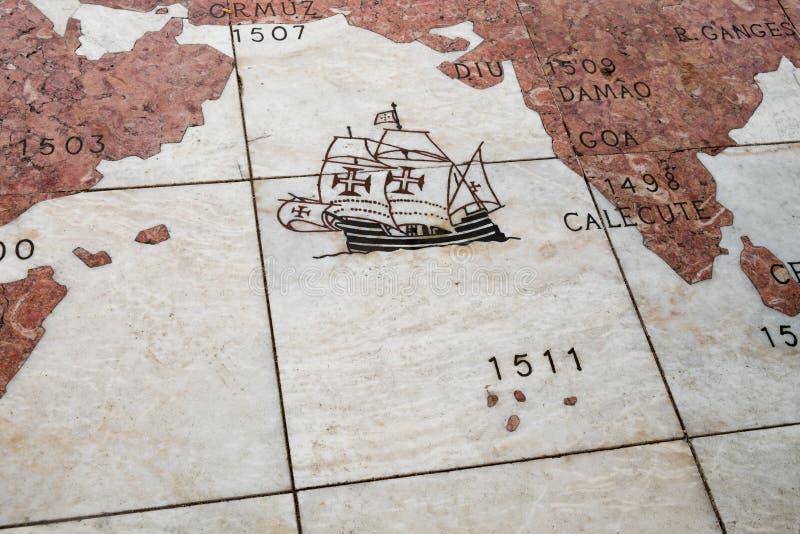 Teil der Marmorwindrose von Belem in Lissabon portugal lizenzfreie stockfotografie