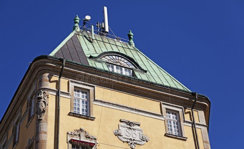 Teil des alten Steinhauses in Jonkoping lizenzfreies stockbild