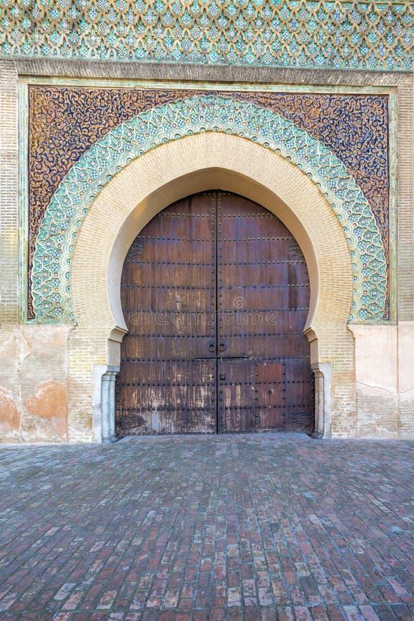 Teil des Bab el-Mansour-Tors, Marokko stockbilder