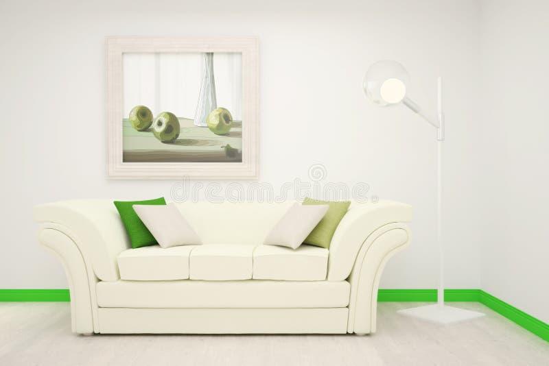 Teil des Innenraums des Wohnzimmers in den weißen und grünen Farben mit einer großen Malerei auf der Wand stockbild