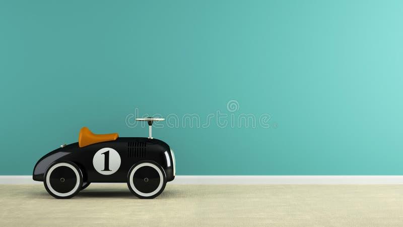 Teil des Innenraums mit stilvoller schwarzer Wiedergabe des Spielzeugautos 3D lizenzfreies stockbild