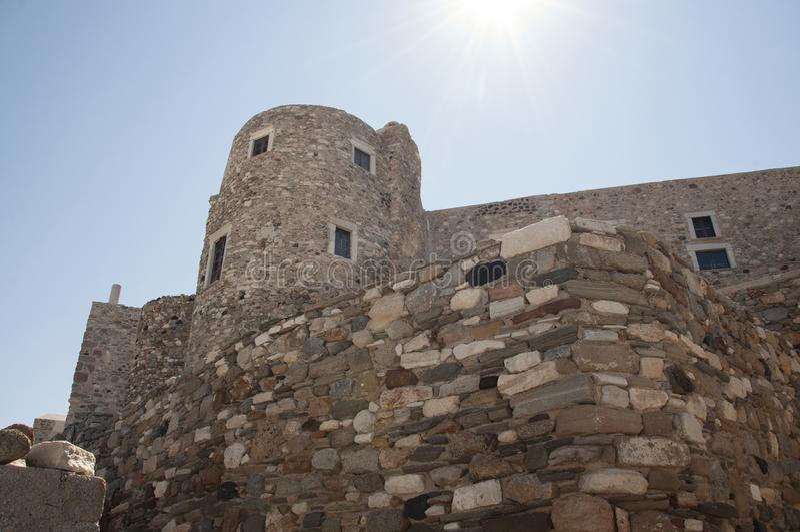 Teil des Schlosses von Naxos-Stadt in Naxos-Insel stockbild
