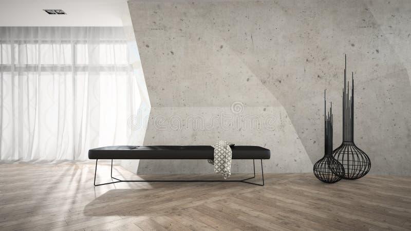 Teil des stilvollen Innenraums mit schwarzer Wiedergabe der Bank 3D lizenzfreies stockfoto