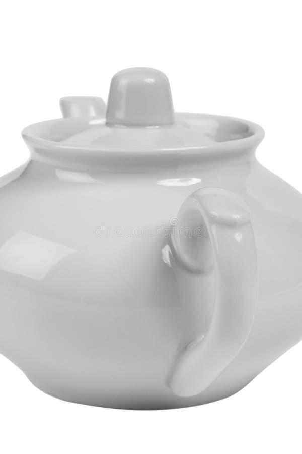 Teil des weißen keramischen Teekannennahaufnahmekonzeptes lizenzfreie stockbilder
