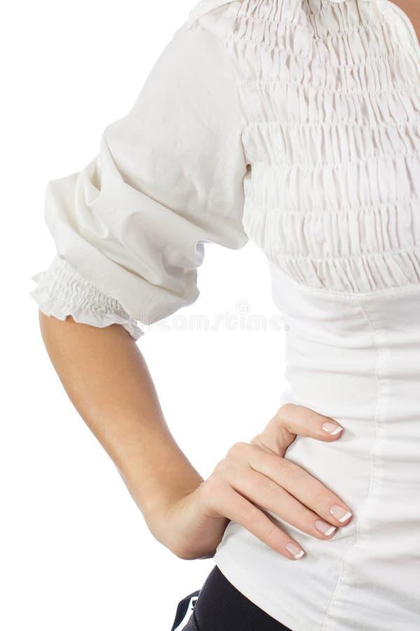 Teil einer weiblichen Karosserie in der Kleidung stockfotografie