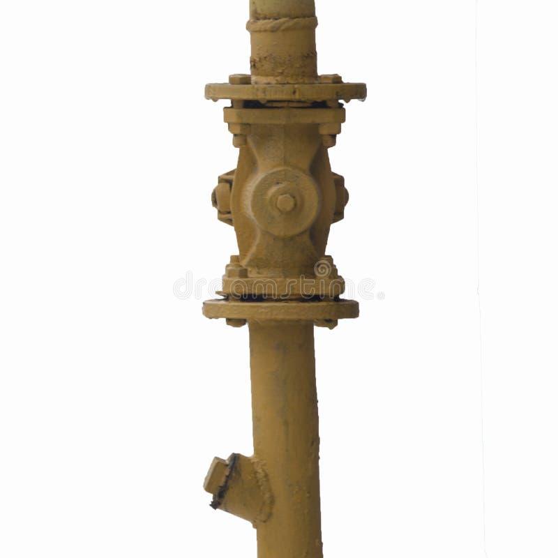 Teil eines gelben Gasrohres mit einem Absperrventil stockfoto