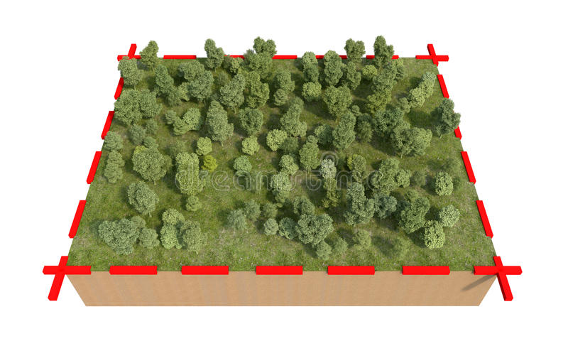 Teil Land mit dem Wald lokalisiert auf weißer Wiedergabe 3d stock abbildung