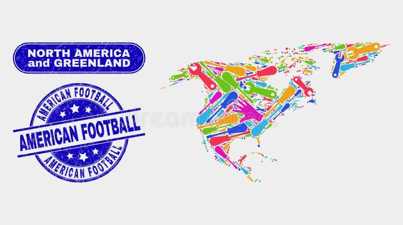 Teil-Nordamerika- und Grönland-Karte und verkratzte amerikanischer Fußball-Stempel lizenzfreie abbildung