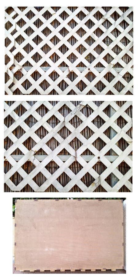 Teil weißes Vinyldes diagonalen Gitterzauns lizenzfreies stockbild