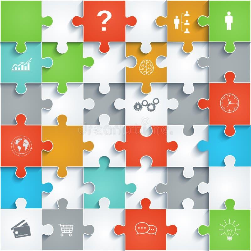 Teile Papierpuzzlespiele mit Ikonen stock abbildung