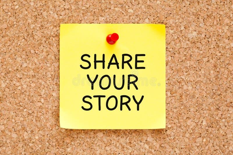 Teilen Sie Ihre Geschichten-Post-Itanmerkung lizenzfreies stockfoto