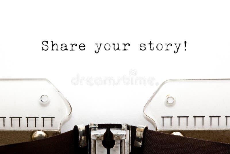 Teilen Sie Ihre Geschichten-Schreibmaschine stockbilder