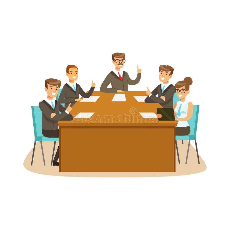 Teilhaber, die bei der Sitzung in einer Bürovektor Illustration sich besprechen und wählen lizenzfreie abbildung