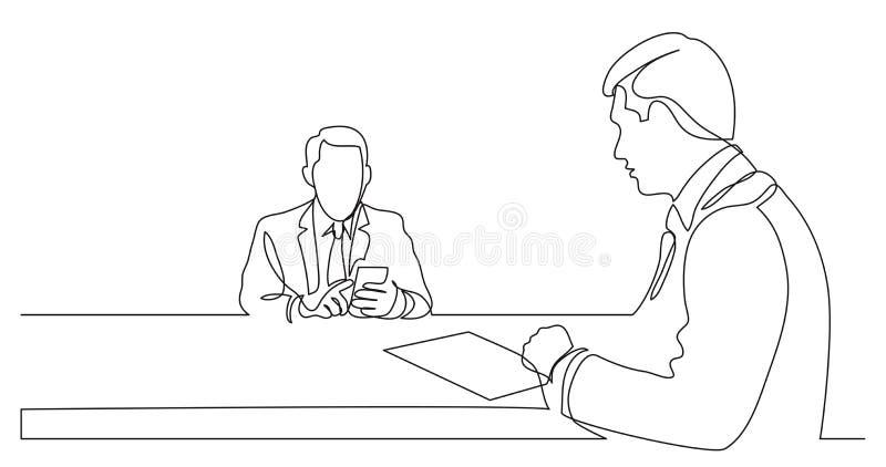 Teilhaber, die Details des Arbeitsvertrages - Federzeichnung der einzelnen Zeile besprechen stock abbildung