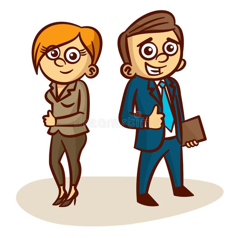 Teilhaber-glücklicher Mann und eine Frau lizenzfreie abbildung