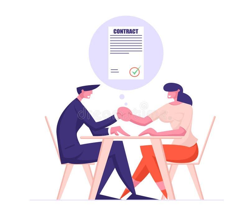 Teilhaber Mann und Frau, die bei Tisch Händeschütteln sitzt, nachdem Vertrag unterzeichnet worden ist teilhaberschaft vektor abbildung