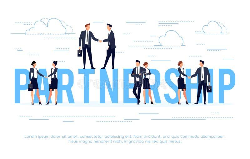 teilhaberschaft Geschäftskonzept in einer flachen Art mit Geschäftsmännern s stock abbildung