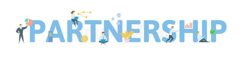 teilhaberschaft Konzept mit Leuten, Buchstaben und Ikonen Flache Vektorillustration Getrennt auf wei?em Hintergrund lizenzfreie abbildung